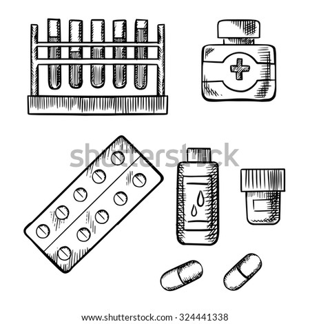 Test tube rack with blood tests, medical bottles with pills, drops and ointment, tablet in a blister pack and capsules isolated on white background. Sketch icons - stock vector