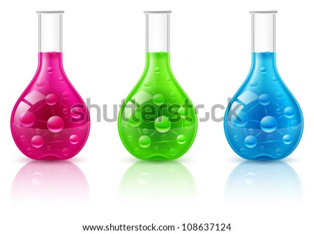 Test tube set on a white background. Illustration for design - stock vector
