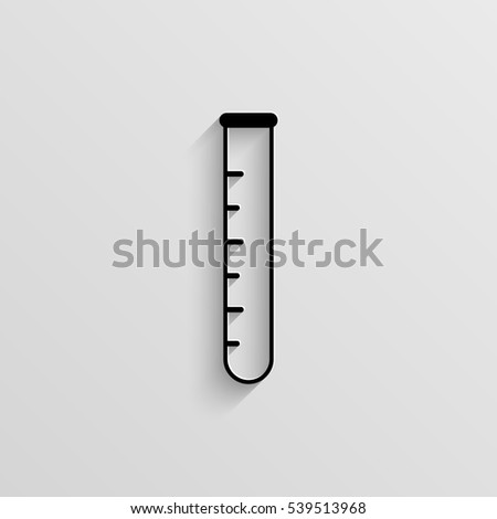 Test tube vector icon with  shadow