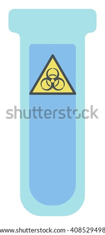 Test tube with biohazard sign. - stock vector