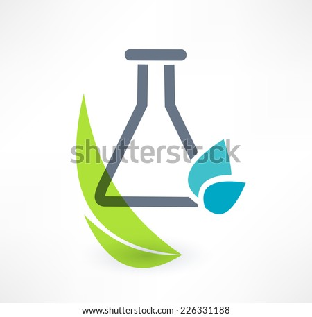 Test tube with leaf icon. The concept of organic chemistry. Logo design. - stock vector