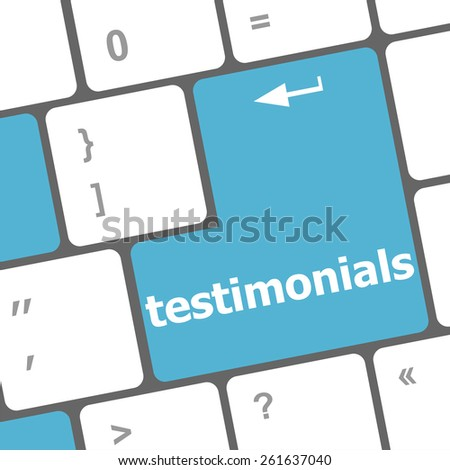 testimonial word on keyboard key, notebook computer button - stock vector