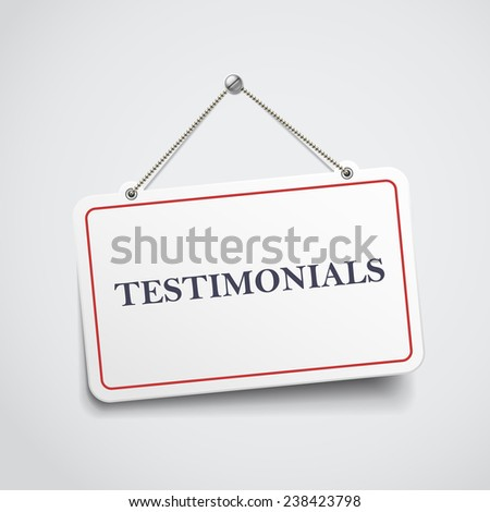 testimonials hanging sign isolated on white wall  - stock vector