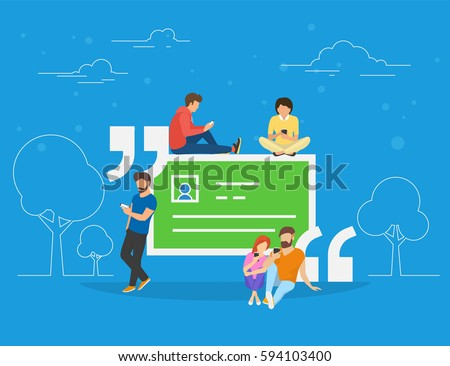 Testimonials quote symbol vector illustration of people using smartphone to make comments in social network. Flat people addicted to leave testimonials for images and news sitting on big quote symbol