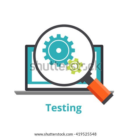 Testing laptop applications. flat illustration isolated on white background - stock vector