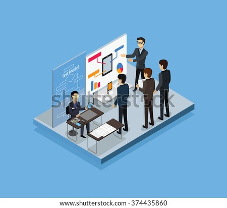 Testing test model 3d isometric. Model test, business development, plan and process testing, system project test, analysis testing management, research technology, test testing model illustration - stock vector