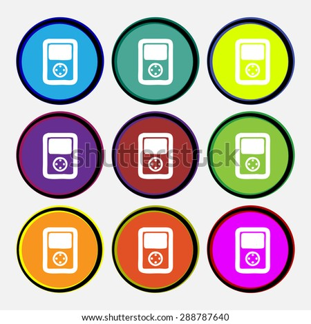 Tetris, video game console icon sign. Nine multi colored round buttons. Vector illustration - stock vector