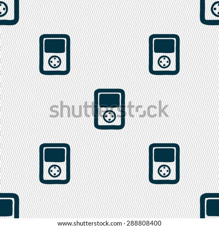 Tetris, video game console icon sign. Seamless pattern with geometric texture. Vector illustration - stock vector