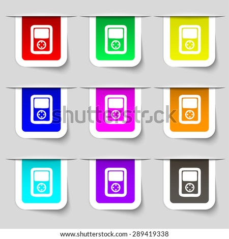 Tetris, video game console icon sign. Set of multicolored modern labels for your design. Vector illustration - stock vector