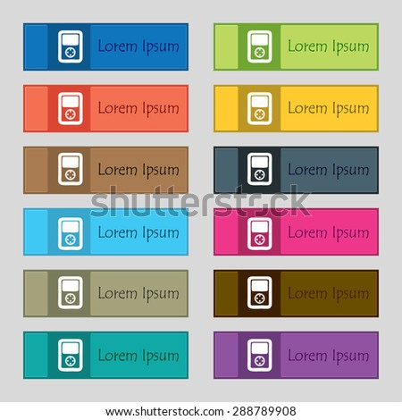 Tetris, video game console icon sign. Set of twelve rectangular, colorful, beautiful, high-quality buttons for the site. Vector illustration - stock vector