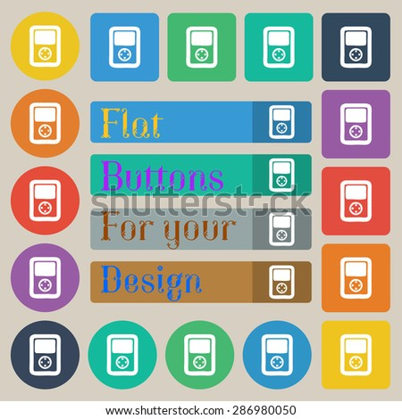 Tetris, video game console icon sign. Set of twenty colored flat, round, square and rectangular buttons. Vector illustration - stock vector