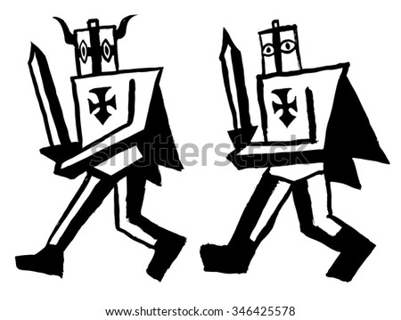 Teutonic knights. Black and white painted knights. Grotesque warriors. Angular characters. Funny and ridiculous characters - stock vector