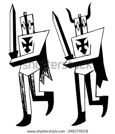 Teutonic knights. Grotesque warriors. Black and white painted knights. Angular characters. Funny and ridiculous characters            - stock vector