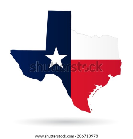 texas american state with flag silhouette - stock vector