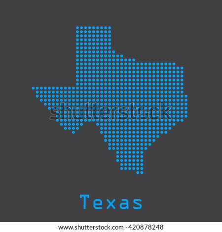 Texas blue abstract dots map. Dotted style. Vector illustration EPS8