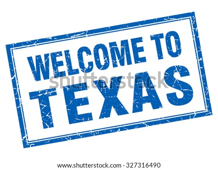 Texas blue square grunge welcome isolated stamp