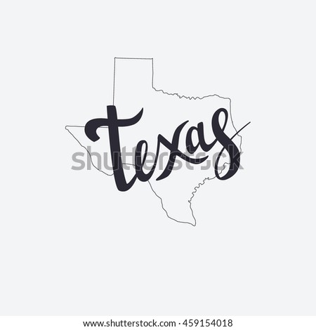 Texas brush lettering and silhouette map of Texas on a grey background. Vector illustration. Isolated elements - stock vector