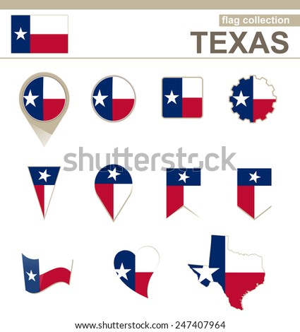 Texas Flag Collection, USA State, 12 versions - stock vector