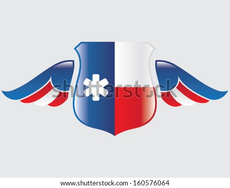 texas flag on shield with wings - stock vector