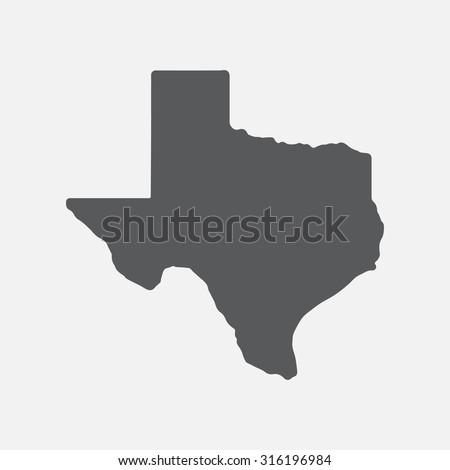 Texas grey state border map.  - stock vector
