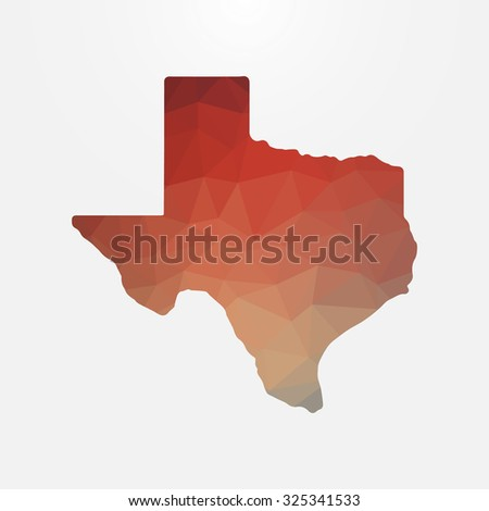 Texas in geometric polygonal style. Abstract tessellation, modern design background. Vector illustration EPS10