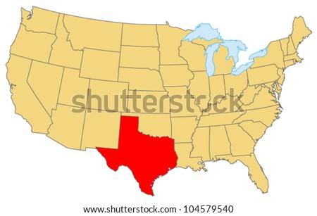 Texas Locate Map - stock vector