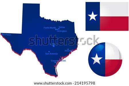 Texas map and flag vector - stock vector