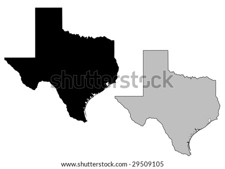 Texas map. Black and white. Mercator projection. - stock vector