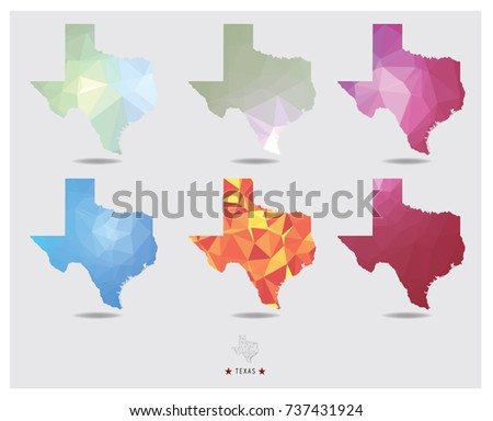 texas map geometric polygon style collection.