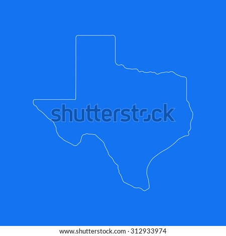 Texas outline map, stroke. Line style. White and blue. Vector EPS8 - stock vector