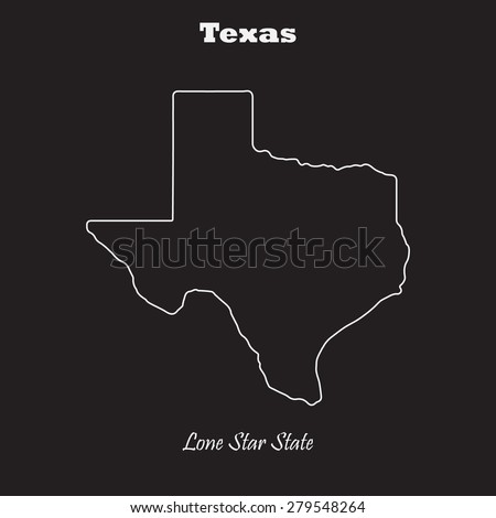 Texas outline map, stroke. Name of state. Line style. Vector EPS8 - stock vector