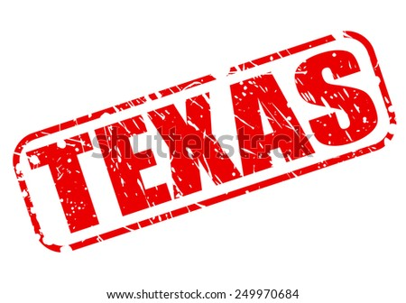 Texas red stamp text on white - stock vector