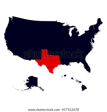 Map Us State Texas Stock Vector Shutterstock - Us map texas vector
