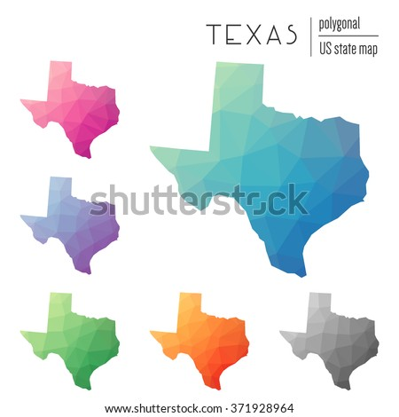 Texas state map in geometric polygonal style. Set of Texas state maps filled with abstract mosaic, modern design background. Multicolored state map in low poly style - stock vector