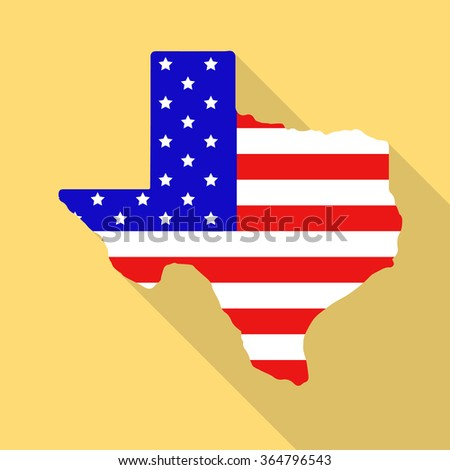 Texas state map in style of USA national flag. Flat style with long shadow