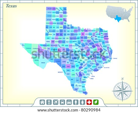 Texas State Map with Community Assistance and Activates Icons Original Illustration - stock vector