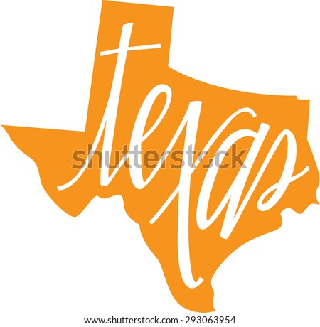 Texas State Outline and Hand lettering - stock vector