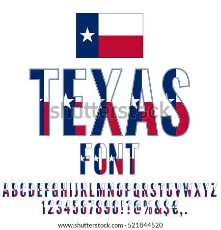 Texas Usa State Flag Font Alphabet Stock Vector Royalty Free