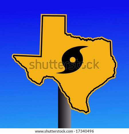 Texas warning sign with hurricane symbol on blue illustration - stock vector