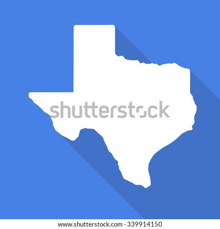 Texas white map,border flat simple style with long shadow on blue background - stock vector