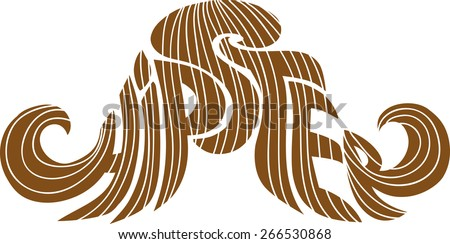 text as hipster mustache - stock vector