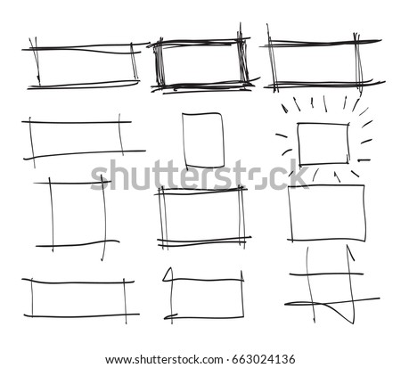 text box frames hand drawn rectangleart stock vector royalty free
