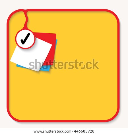 Text box for fill your text with check box and slips of paper - stock vector