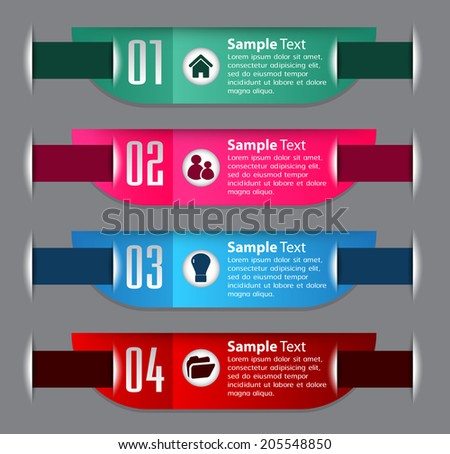 text box template for website and graphic, numbers, icon.