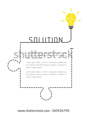 Text box  template with lightbulb and jigsaw puzzle piece as solution concept. - stock vector