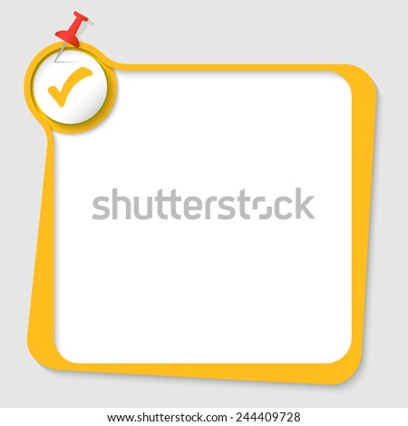 text box with pushpin and check box - stock vector