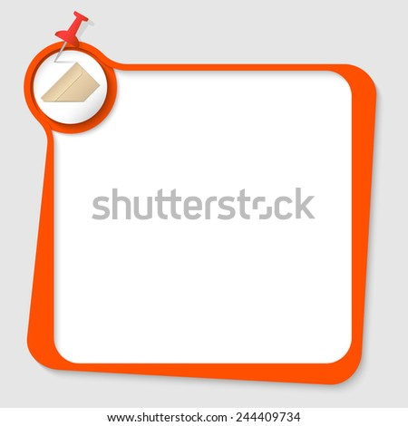 text box with pushpin and envelope - stock vector