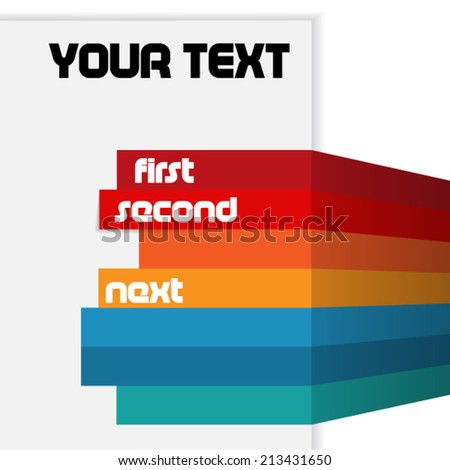 Text brochure with color lines - stock vector