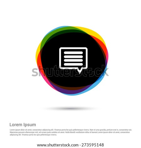Text bubble simple icon, White pictogram icon creative circle Multicolor background. Vector illustration. Flat icon design style - stock vector