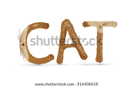 "text ""cat"" writing with funny fluffy spot leters on white background, red cat letters, vector"